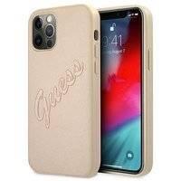 """Guess GUHCP12MRSAVSLG iPhone 12/12 Pro 6,1"""" złoty/gold hardcase Saffiano Vintage Script"""